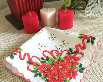 Vintage Handkerchief, Christmas Poinsettia, Wedding Hankie, Red, Green, Holiday, Printed Flowers, Bows, Bride, Bridesmaid, Red, White  13+""