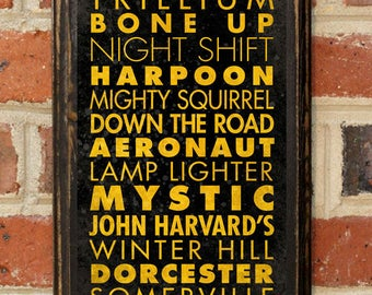 Craft Breweries Boston MA Wall Art Plaque Sign Home Decor Scroll Vintage Style Gift Present Beer Brewery Ale Stout Pilsner IPA Antique