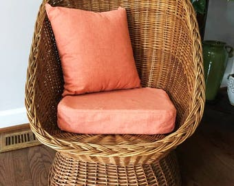 Wicker Chair / Mid Century Semi Cocoon /  Wovern Patio Chair /  Local Pickup Or Local Delivery Only- Fredericksburg, Va