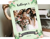 Bridal Photo Prop Frame, Photo booth party frame featuring cactus and succulents personalized for you, 24 x 36 or A1, printable file