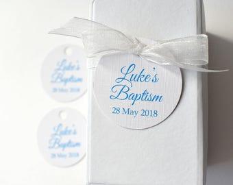 20 x Christening or Baptism bomboniere, Baptism favour tags, christening favour tags, baby boy bomboniere, round favour tag, naming day tag