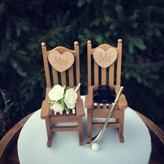 Golf Wedding Rustic Cake Toppers