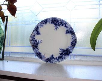 Flow Blue Handled Plate Platter Johnson Bros Peach Royal Antique 1800s