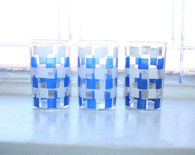 3 Swanky Swig Tumblers Blue and White Checkerboard Vintage 1960s