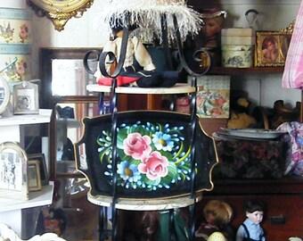 Black gold trim floral motif open handled serving tray wall decor dining room living room bedroom
