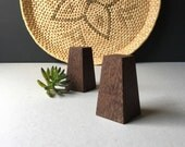 Vintage Wood Salt and Pepper Shaker Set Acapu Brazil, Mid Century Modern Kitchen, Geometric Wood Shakers,