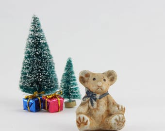 Vintage Bisque Teddy Bear Figurine - Miniature Diorama Dollhouse Teddy Bear Made in Japan