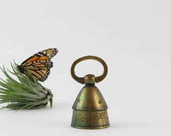Vintage India Brass Bell - Engraved Happy Birthday Brass Bell Decoration - Meditation Bell - Patient Sick Call Bell