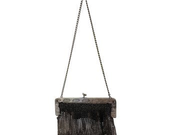 1910 P&B German Silver Mesh Purse // Antique Chainmail Evening Bag // Victorian Edwardian Chatelaine Wristlet, Stamped Edelweiss Greek Key