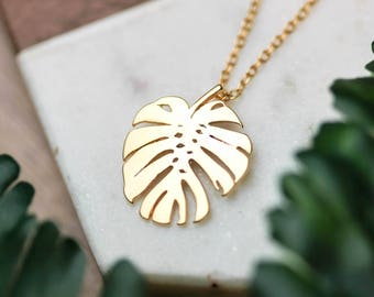 Botanical leaf necklace | Gold plated layering necklace | Gifts for her under 20 | Tropical necklace | Monstera leaf | Minimal gold necklace