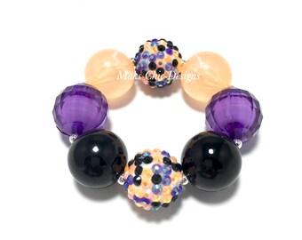 Toddler or Girls Halloween Chunky Bracelet - Orange, Purple and Black Chunky Bracelet - Girls witch bracelet - Pumpkin chunky Bracelet -