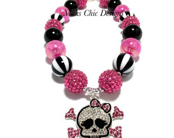 Toddler or Girls Skull Rhinestone Chunky Necklace - Hot Pink and Black Chunky Necklace - Pink Pirate Necklace - Halloween Chunky Necklace