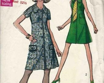 Simplicity 8605 Empire waist a-line shift dress button front patch pockets Size 10 Vintage