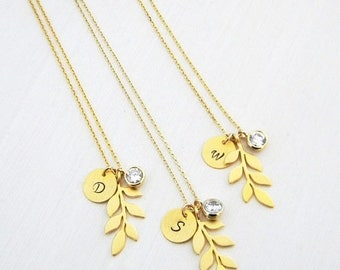 Gold Leaf Initial Crystal Bridesmaids Necklace