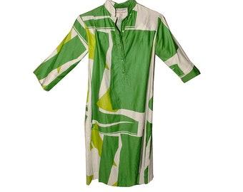 80s Abstract Print Dress, Shirt Dress, Catherine Ogust, Penthouse Gallery, Green Dress, Summer Dress, Vintage Dress