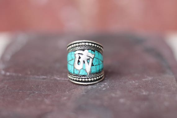TURQUOISE OM RING - Vintage Ring - Tibetan Style - Om - Buddhist - Spiritual - Statement ring - Unisex - Mosaic Ring - Silver plated - Gift