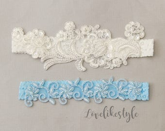 Pearl Beaded Lace Wedding Garter Set, Ivory and Blue Lace Garter Set, Wedding Garter Set, Somthing Blue / GT-81