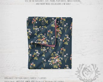 Organic Cotton Knit Baby Blanket - Meadow Wildflowers Dark Denim, Vintage Style Floral Watercolour | Ships in 4 weeks