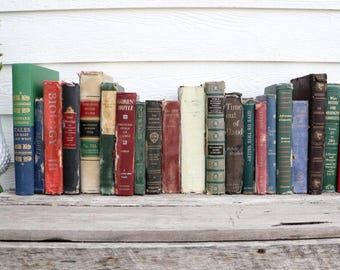 Set of 21 Vintage Books - Antique Book Decor - Photo Props -Wedding Decor- Black, Brown, Green, Red, Blue - Rustic Books- French Country-Old