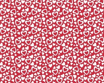 Fat Quarter -- Riley Blake Designs  --  Holiday Hearts  -100% Cotton Fabric - Red/White