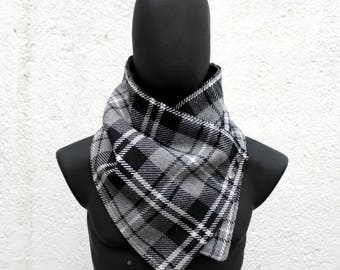 Mens and womens scarf,Unisex cowl, blanket scarf.Plaid cotton blend in grey, black,gray & white, metalic snaps . Mens winter. Husband gift.