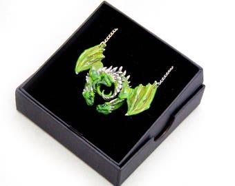 Green Dragon Embrace Pewter Pendant