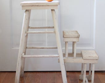 Old Farmhouse Wood Step Stool with Fold Out Steps // White Chippy Paint //  Primitive and Rustic