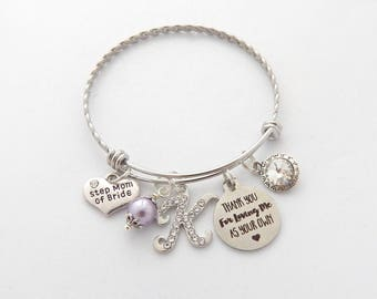 Step Mom of the Bride Gift, Step Mother Gift, Step Mother Bracelet, Step Mom Wedding Gift, Thank you for loving me as your own