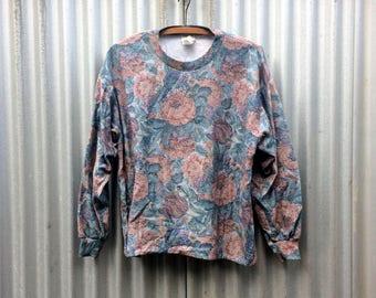 Grunge In Bloom -- Soft floral long sleeve sweatshirt with alternative sensibilities -- EZL