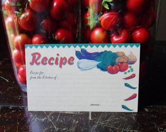 Recipe Cards with Vegetables, 50 Vintage Recipe Cards 5 x 3