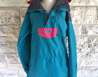 Columbia Jacket 90's  Hiking Jacket Men's Medium Neon Windbreaker Teal Blue and Hot Pink Columbia Pullover Convertible Ski Jacket