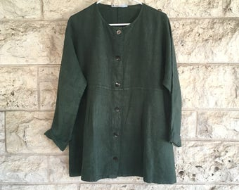 90s Top 90s Vintage Boho Cotton Tunic Medium or Large Blouse Hunter Green Aly Wear Linen Top Hippie Boho