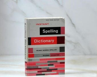 Vintage Book, Instant Spelling, Dictionary, 1967, Career Institute, Hardback, Word Division, Punctuation, Capitalization, Vintage Spelling