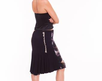 """OOAK Tango Skirt in Black and White """"Milonguero"""", Lace Tango Skirt, Jersey Skirt for Tango, Print Skirt for Tango"""