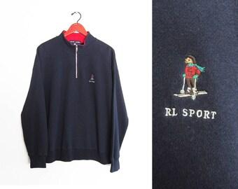 vintage sweatshirt / POLO bear sweatshirt / 90s Polo Sport / 1990s Polo Bear half zip sweatshirt Large