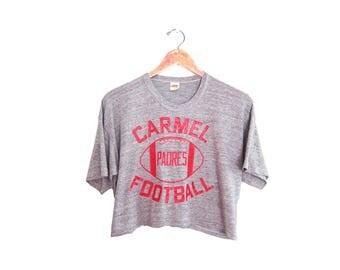 vintage t shirt / vintage crop top / vintage sportswear / 1970s Carmel Football heather grey tri blend crop top Large