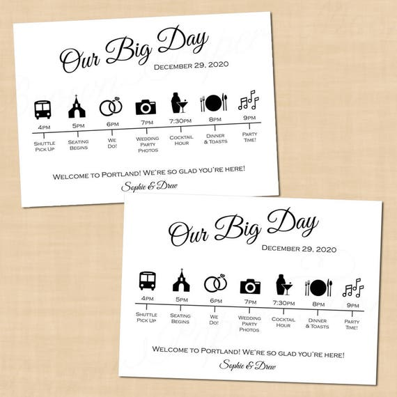 Calligraphy wedding itinerary big day guest timeline schedule calligraphy wedding itinerary big day guest timeline schedule icons 7x5 landscape text editable in word printable instant download junglespirit Images