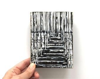 Winter Landscape ~ Acrylic Painting Original Art on Wood Block Shelf Sitter