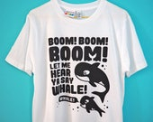 Orca T-shirt, Whale T-shirt, Handprinted Orca Tee, Unisex Tshirt, Funny T-shirt, Killer Whale Tee, Funny 90s Music Tee, Screenprinted Tee