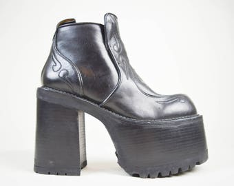 RESERVED 90s Does 70s Buffalo Black Leather Western Embroidered Mega Platform Ankle Boots Uk 6 / Us 8.5 / Eu 39