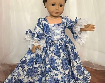 "Blue and White Marie Antoinette Inspired 18"" (American) Doll Dress"