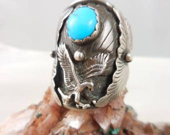 Fannie Platero Native American Turquoise Eagle Navajo Sterling Silver Ring