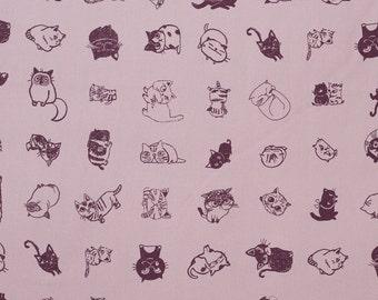 Japanese kawaii cat fabric in purple oxford cotton by Shinzi Katoh - 1/2 YD