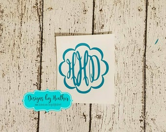 Personalized Decal (Keepsake Monogram with Scalloped Frame)