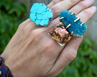 DOUBLE GEODE RING - Apatite and Copper Nugget