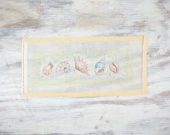Vintage Sea shell Needlepoint Canvas, hand painted Nautilus, conch, scallop Shells