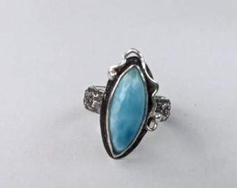 Marquee Larimar Ring with Patterned shank size 6