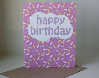 Happy Birthday Card, Happy Birthday Sprinkles, Sprinkles Card, Girl Birthday Card, Kids Birthday Card, Birthday Greeting Card, Birthday Card
