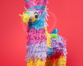 Pinata Clipart, Photo of Pinata on Red Background, Downloadable Image, Blue, Pink, Yellow, Red, Childrens Clipart, Clip Art, Party Clipart