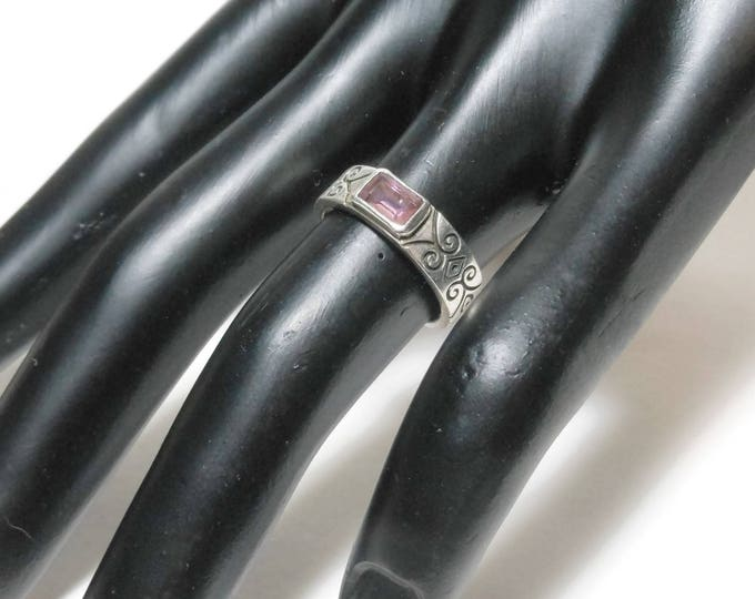 FREE SHIPPING Sterling silver ring, amethyst glass bezel set in band, black antiquing scroll work, back open for light, vintage size 6 925